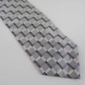 Crestview Men's Necktie Silver Gray Geo Print XL